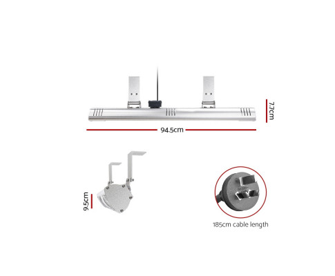 Devanti Electric Infrared Heater Outdoor Radiant Strip Heaters Halogen 3000W HLH-E73-3000-AL