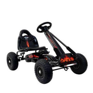 Rigo Kids Pedal Go Kart Car Ride On Toys Racing Bike Rubber Tyre Adjustable Seat GKRT-F1A-BK