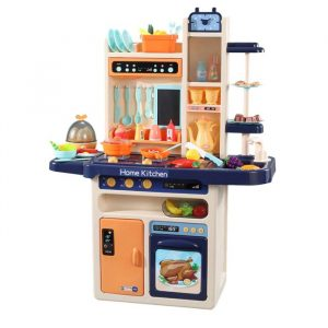 65 Pcs Kids Kitchen Play Set Pretend Cooking Toy Children Cookware Utensils Blue KD1012-BL