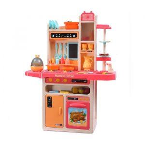 65 Pcs Kids Kitchen Play Set Pretend Cooking Toy Children Cookware Utensils Pink KD1012-PK