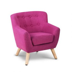 Keezi Kids Sofa Armchair Pink Linen Lounge Nordic French Couch Children Room KID-CHAIR-A5-PK