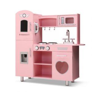 Keezi Kids Kitchen Set Pretend Play Food Sets Childrens Utensils Wooden Toy Pink PLAY-WOOD-DISPENSER-PK