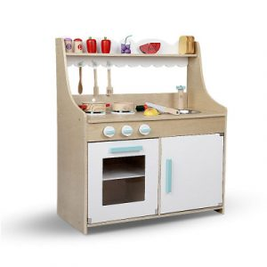 Keezi Kids Wooden Kitchen Play Set - Natural & White PLAY-WOOD-FOOD-NATURAL