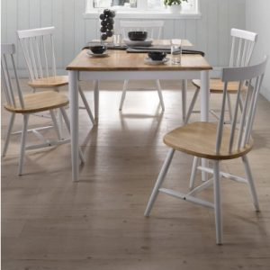 7pcs Scandinavian Dining Sets 1.5m Table 6 Chairs in Danish Natural Oak V80-7PCLAUS