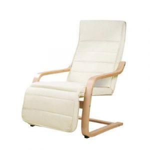 Artiss Fabric Armchair with Adjustable Footrest - Beige ARMCHAIR-02-BG