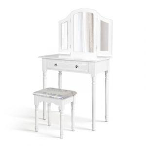Artiss Dressing Table Stool Mirror Drawer Makeup Jewellery Cabinet Organizer DRESS-D-3MIR-1D-WH