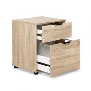 2 Drawer Filing Cabinet Office Shelves Storage Drawers Cupboard Wood File Home FURNI-O-CAB-2D-WD