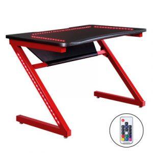 Artiss Gaming Desk Study Computer Desktop Carbon Fiber Style LED RGB Racer Table GTABLE-LED-Z01-RD-BK
