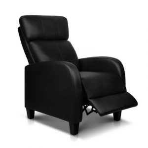 Artiss PU Leather Reclining Armchair - Black RECLINER-A1-BK-AB