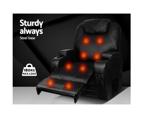 Artiss Recliner Chair Electric Massage Chairs Heated Lounge Swivel Sofa Leather RECLINER-A2-NEW-BK