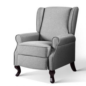 Artiss Recliner Chair Luxury Lounge Armchair Single Sofa Couch Fabric Grey RECLINER-A6-LIN-GY