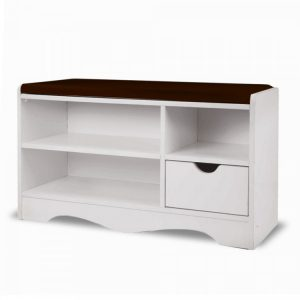 Shoe Rack Cabinet Organiser Brown Cushion - 80 X 30 X 45 - White cbt-80-30-45-whbr
