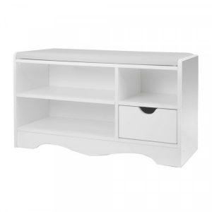 Shoe Rack Cabinet Organiser White Cushion - 80 X 30 X 45 - White cbt-80-30-45-wh