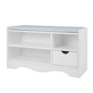 Shoe Rack Cabinet Organiser Grey Cushion - 80 X 30 X 45 - White cbt-80-30-45-whgr