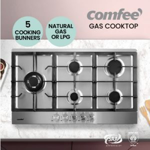 Comfee Gas Cooktop Stainless Steel 5 Burner Kitchen Gas Stove Cook Top NG LPG CGH90005S