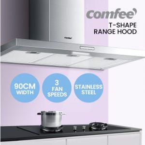 Comfee Rangehood 900mm 90cm Range Hood Stainless Steel Kitchen Canopy LED Light CRH90M17S