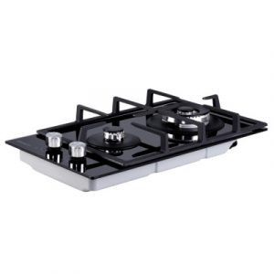 Devanti Gas Cooktop 30cm Gas Stove Cooker 2 Burner Cook Top Konbs NG LPG Black CT-GAS-2B-BK