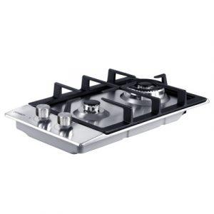 Devanti Gas Cooktop 30cm Gas Stove Cooker 2 Burner Cook Top Konbs NG LPG Steel CT-GAS-2B-SS