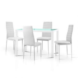 Artiss 5 Piece Dining Table Set - White DINING-B-T105-WH-AB