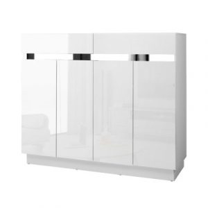 Artiss 120cm Shoe Cabinet Shoes Storage Rack High Gloss Cupboard White Drawers FURNI-N-SHOE120-WH-AB