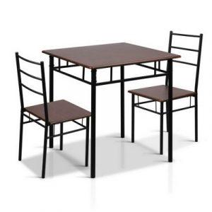 Artiss Metal Table and Chairs - Walnut & Black MET-DESK-356-WN