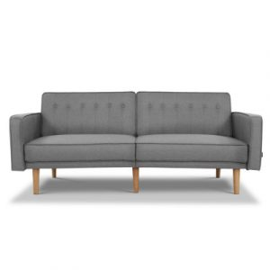 Artiss Sofa Bed Lounge 3 Seater Futon Couch Recline Chair Wooden 195cm Fabric SBED-C-LIN194-LI-GY-ABC